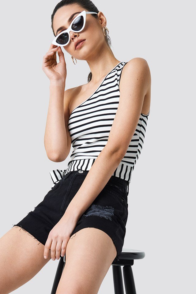 Striped One Shoulder Top White