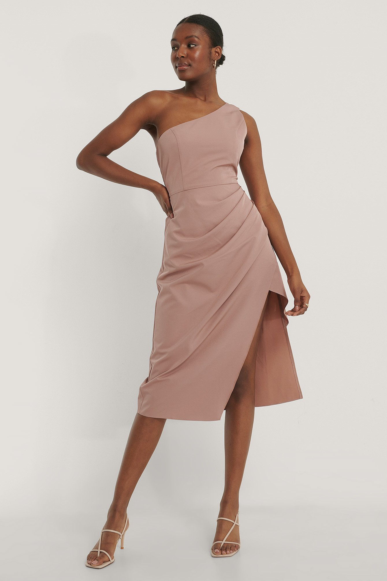 Dusty Pink One Shoulder Waist Detail Dress