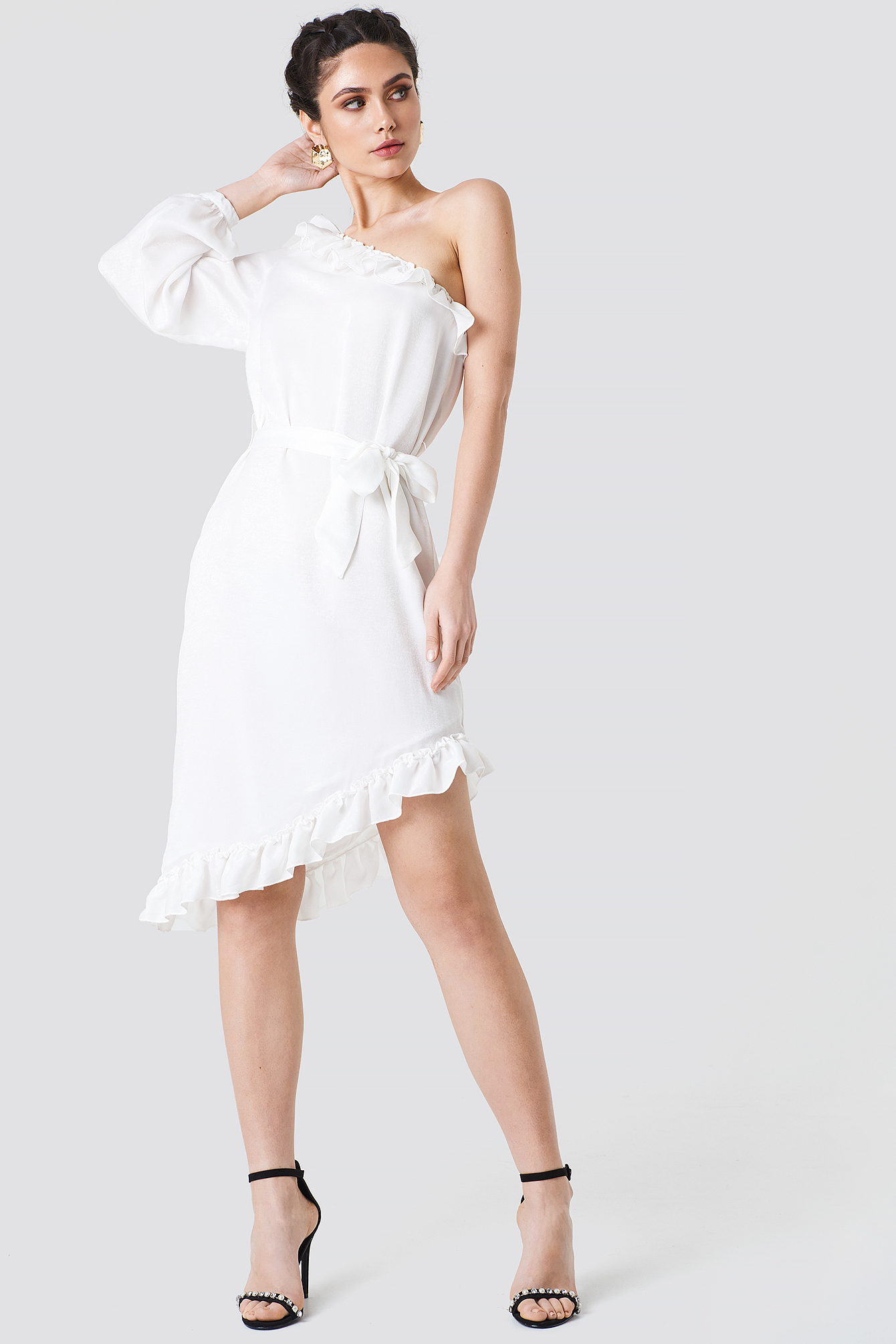 One Sleeve Asymmetric Frill Dress NA-KD.COM