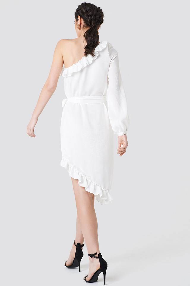 One Sleeve Asymmetric Frill Dress White