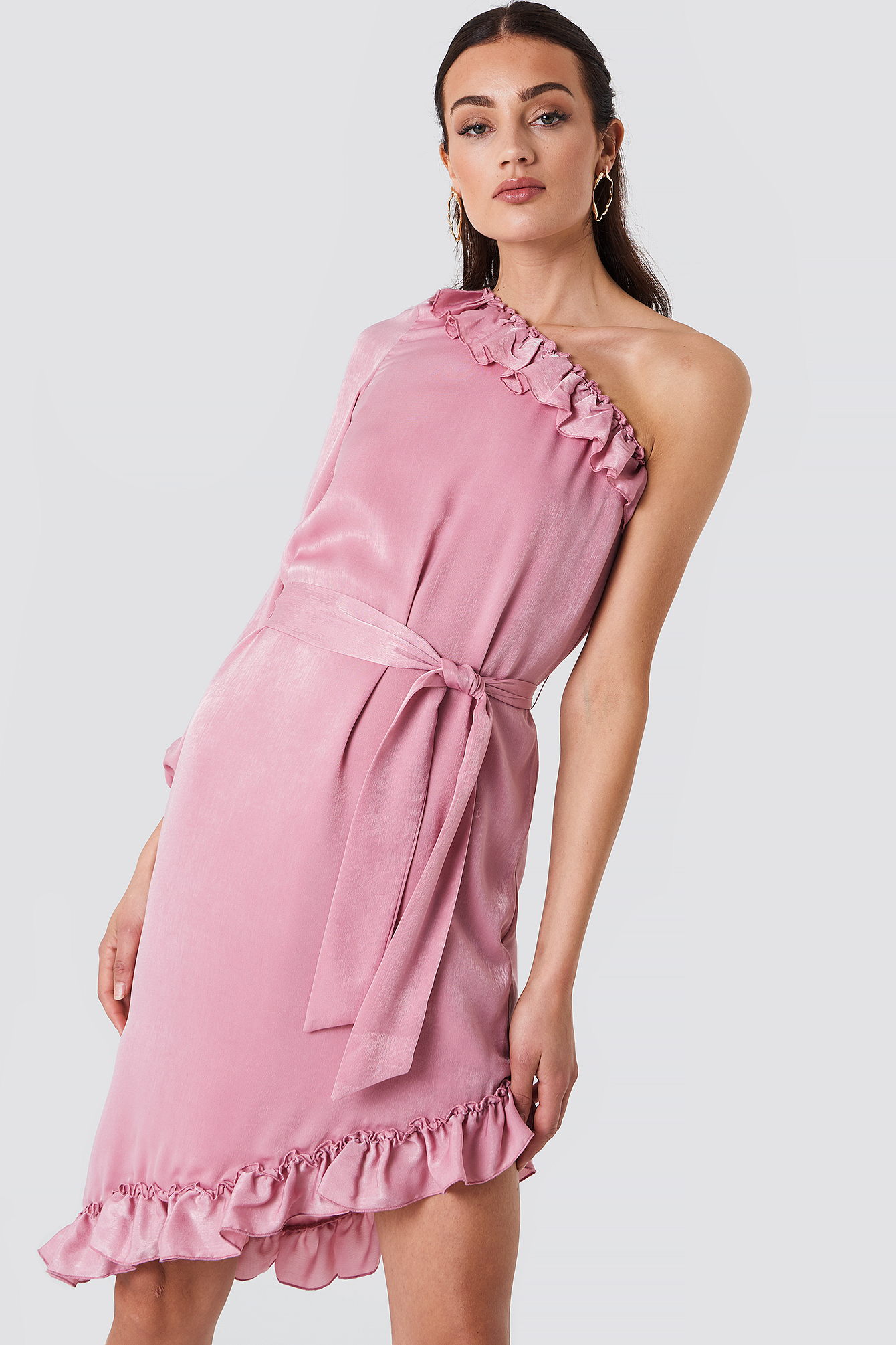 One Sleeve Asymmetric Frill Dress NA-KD.COM