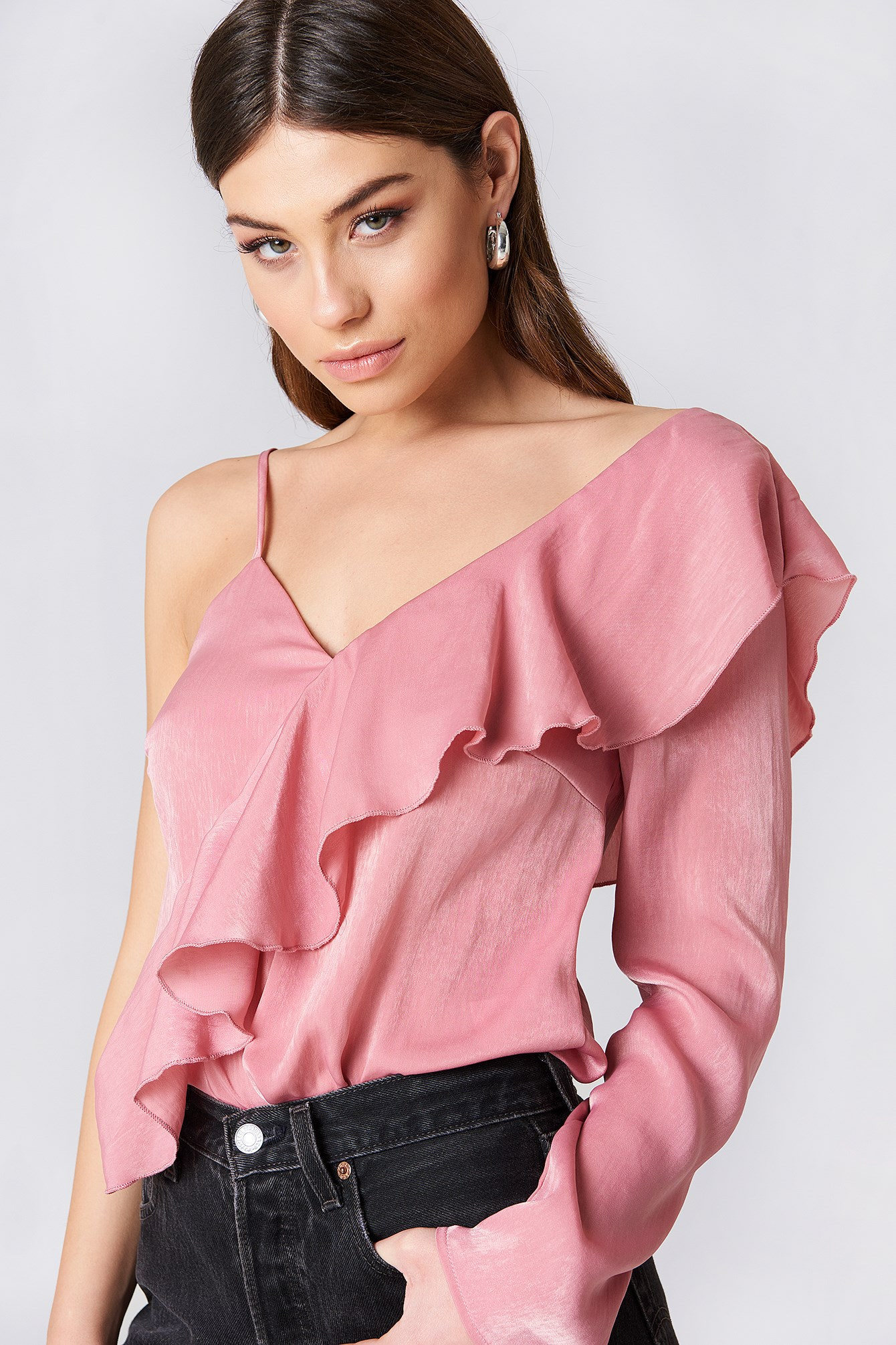 One Sleeve Frill Top NA-KD.COM