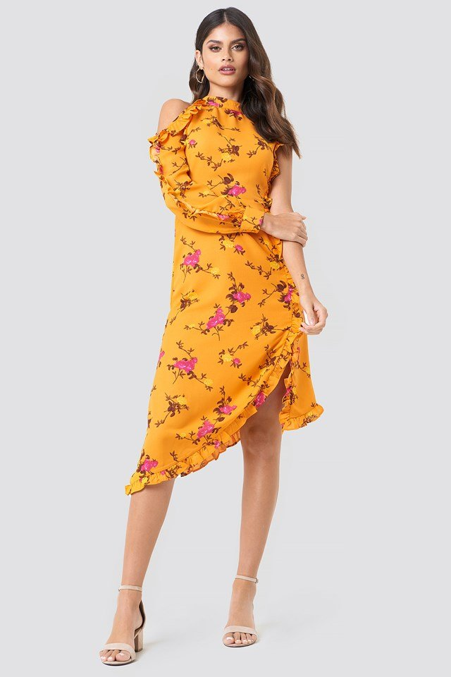 One Sleeve High Neck Frill Dress Orange Floral