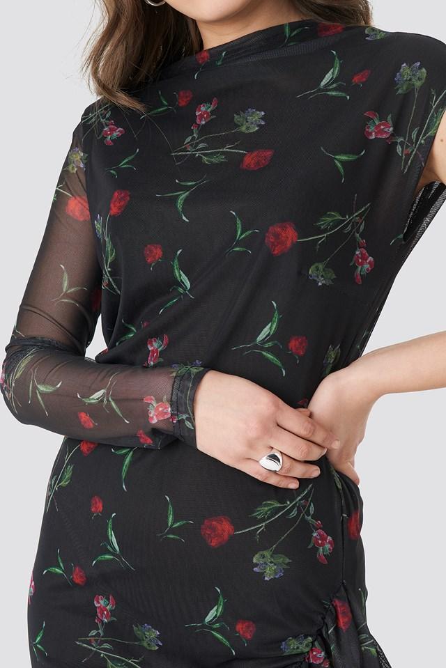 One Sleeve Mesh Dress Black/Flower Print