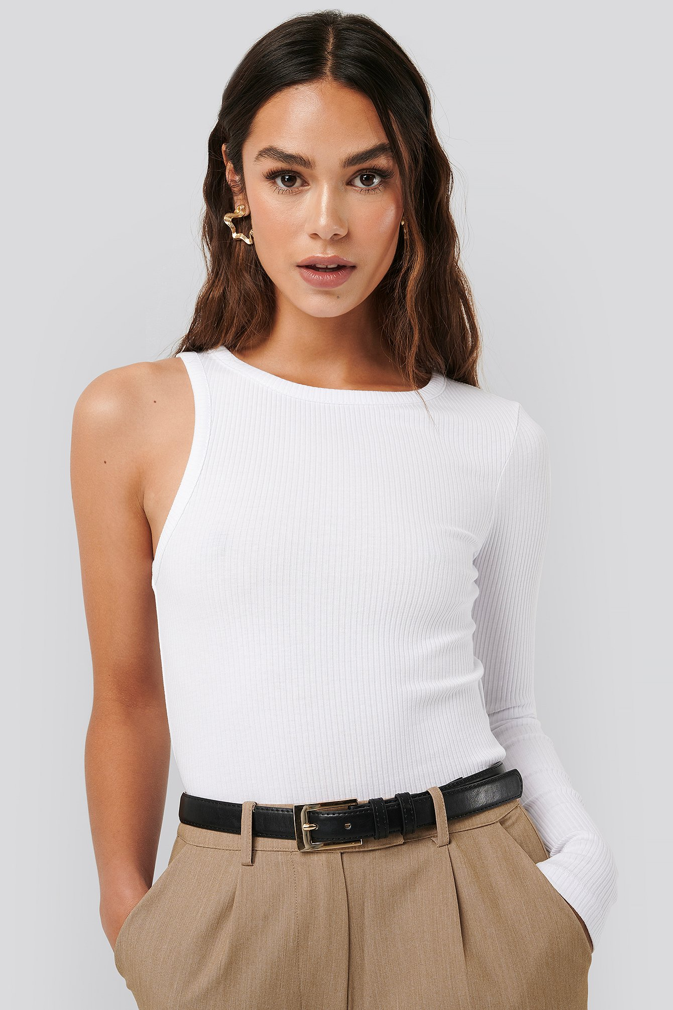 White One Sleeve Ribbed Top
