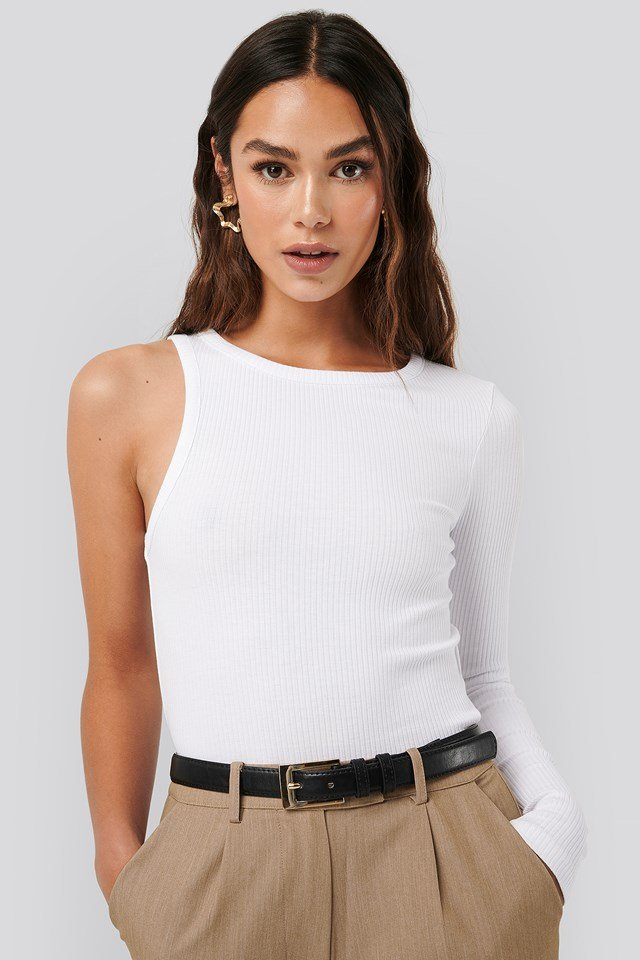 One Sleeve Ribbed Top White