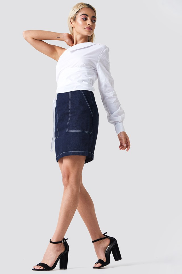 One Sleeve Tie Waist Shirt White
