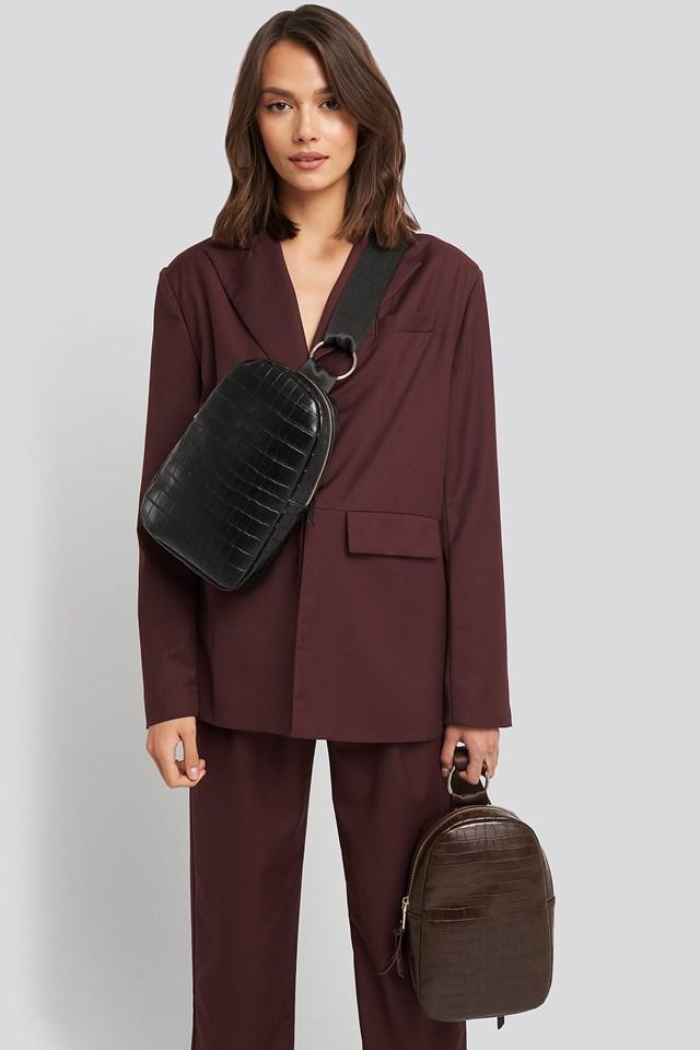 One Strap Sling Bag Black Croco