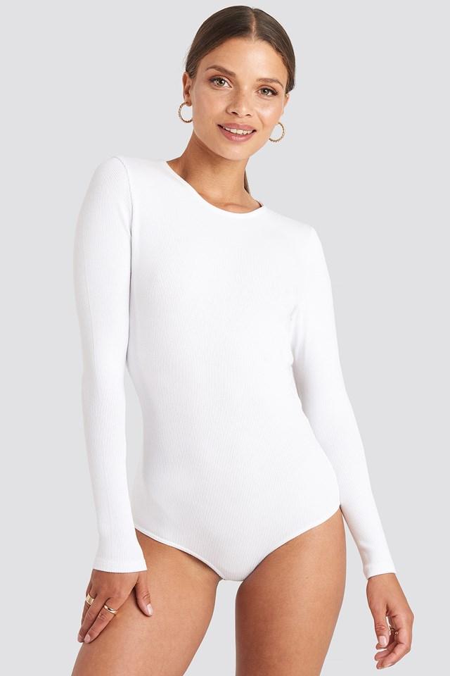 Open Back Bodysuit White