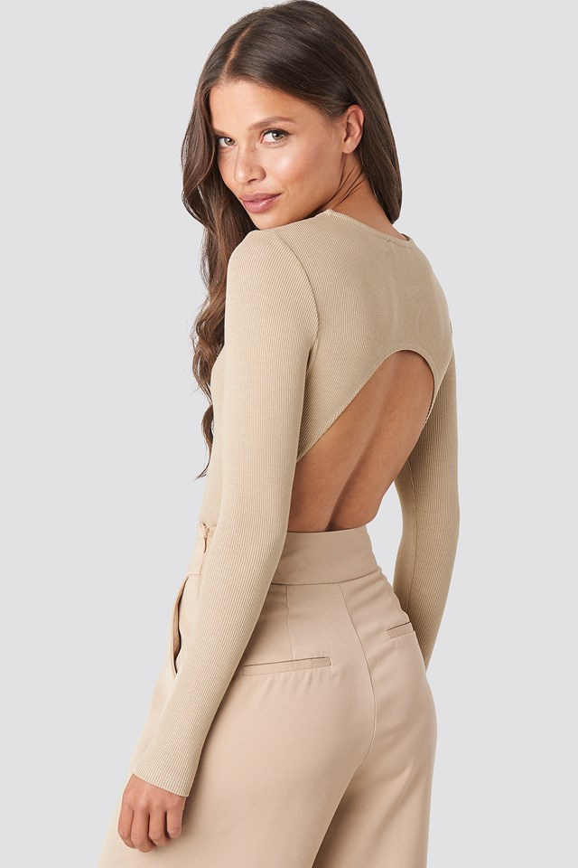 Open Back Bodysuit Beige