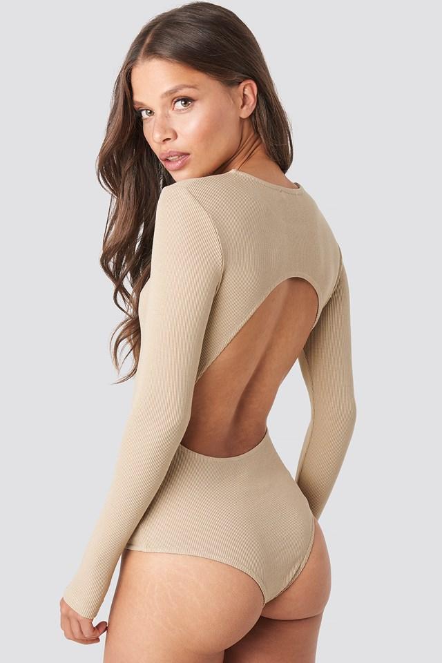 Open Back Bodysuit Beige