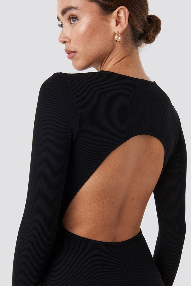 Open Back Bodysuit Deep Black