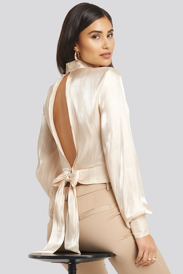 Open Back Tie Detail Blouse Dusty Light Beige