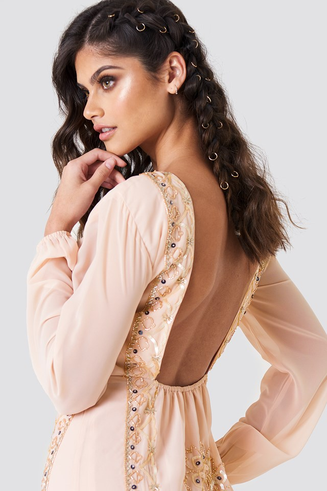 Open Back Embellished Dress Beige