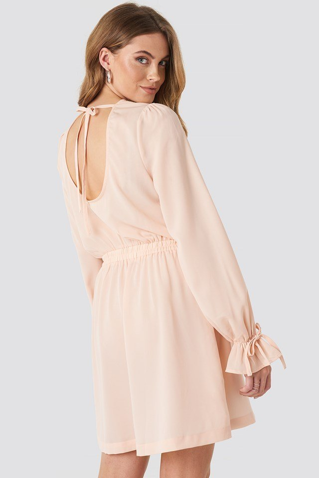 Open Back Flounce Detail Dress Dusty Pink
