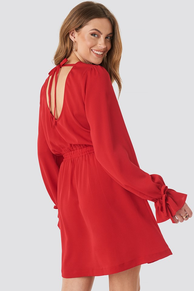 Open Back Flounce Detail Dress Red