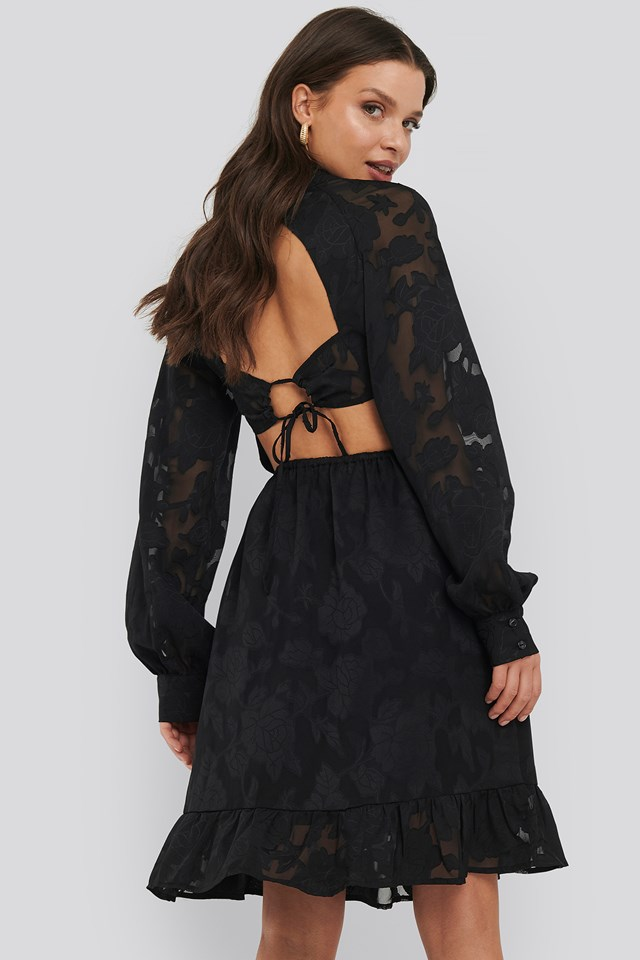 Open Back Flower Applique Dress Black