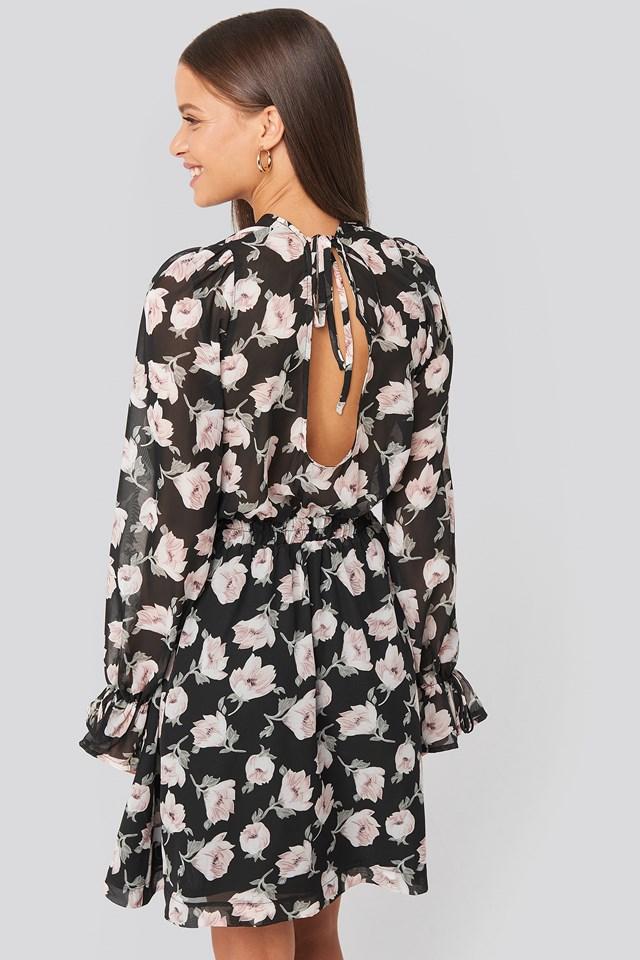 Open Back Flower Printed Dress Black/Pink Flower Print