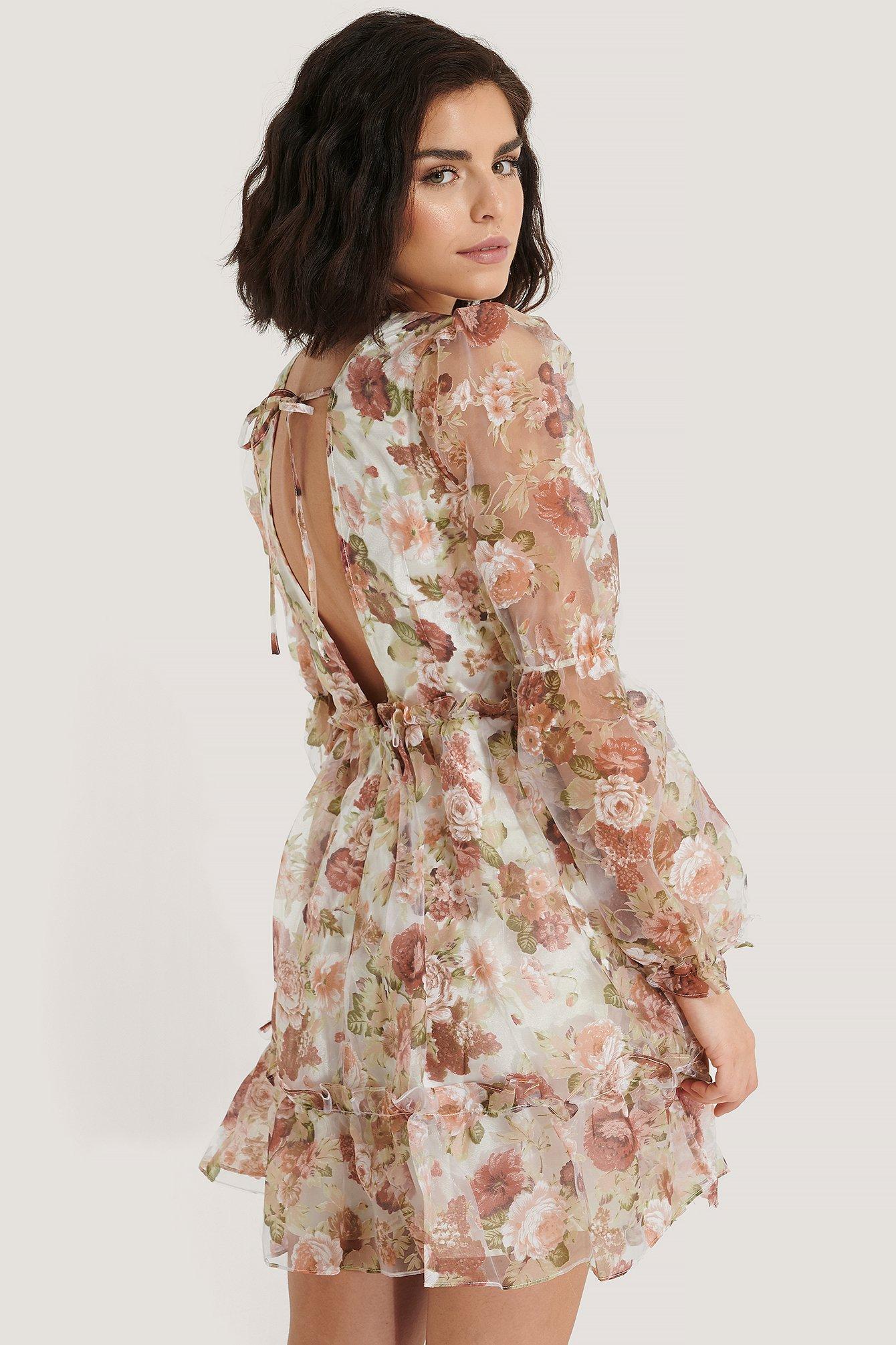 Organza-Kleid Mit Blumendruck Und Offenem Rücken ...