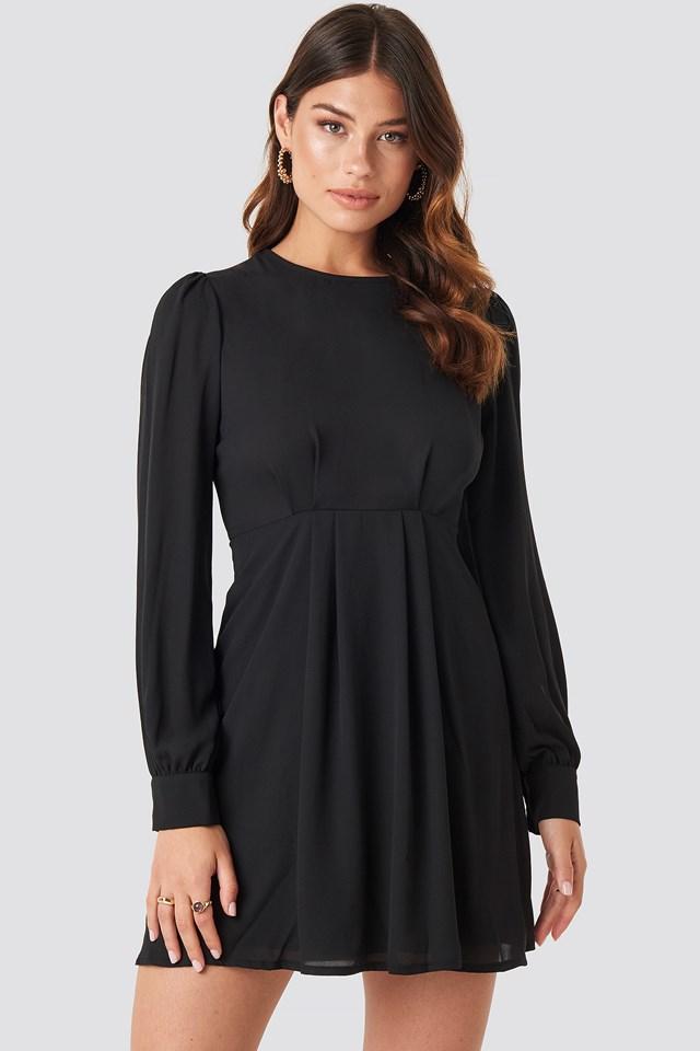 Open Back Flowy Mini Dress Black