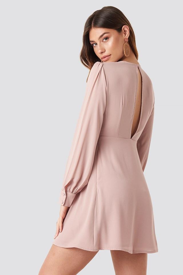 Open Back Flowy Mini Dress Dusty Pink