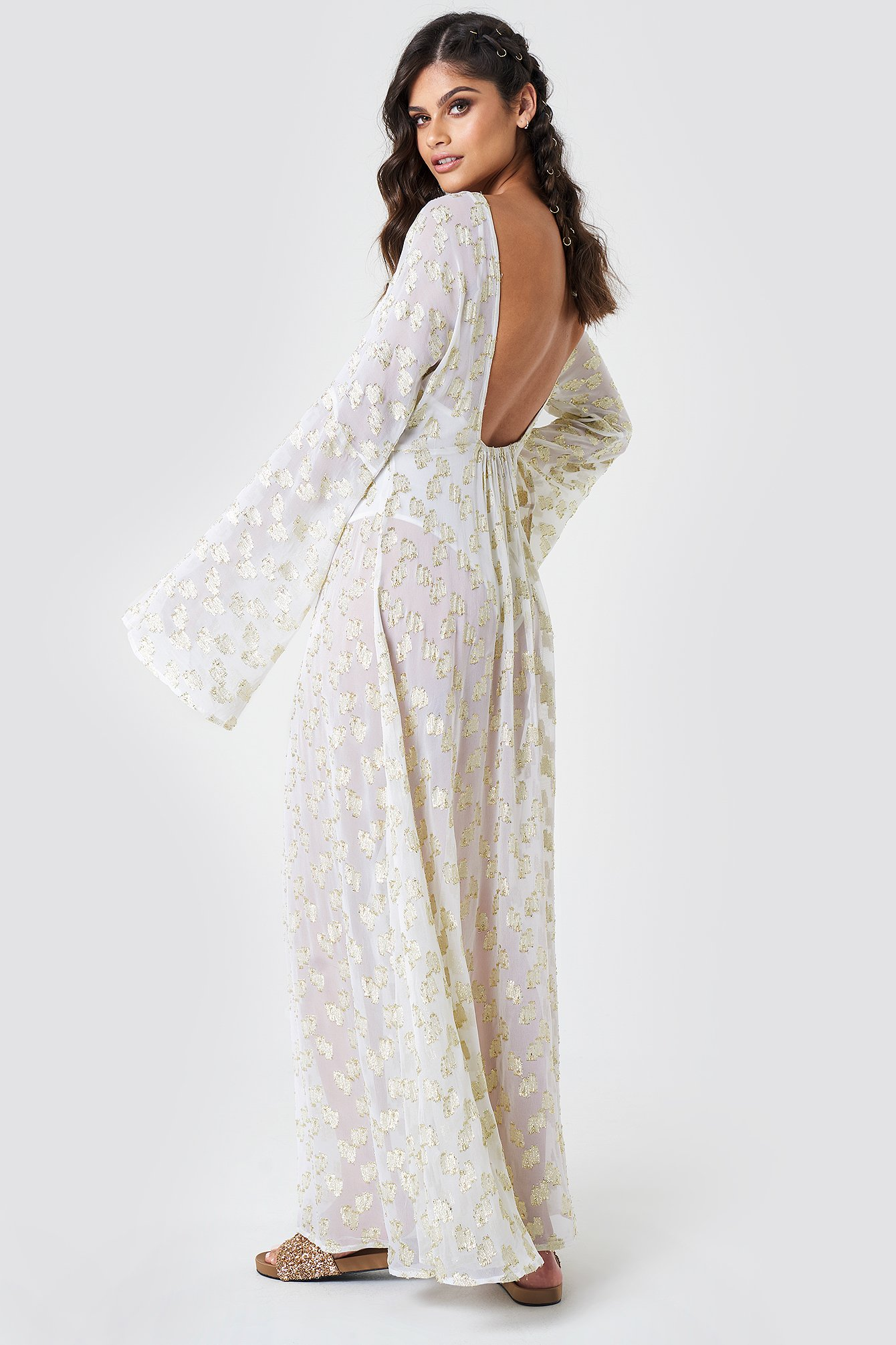 cc552427 Open Back Glitter Maxi Dress White | na-kd.com