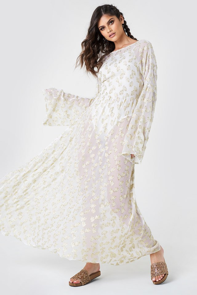 Open Back Glitter Maxi Dress White