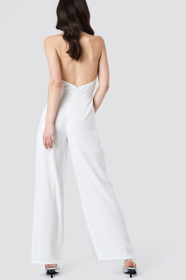 Open Back Halterneck Jumpsuit White