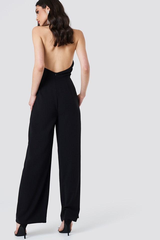 Open Back Halterneck Jumpsuit Black