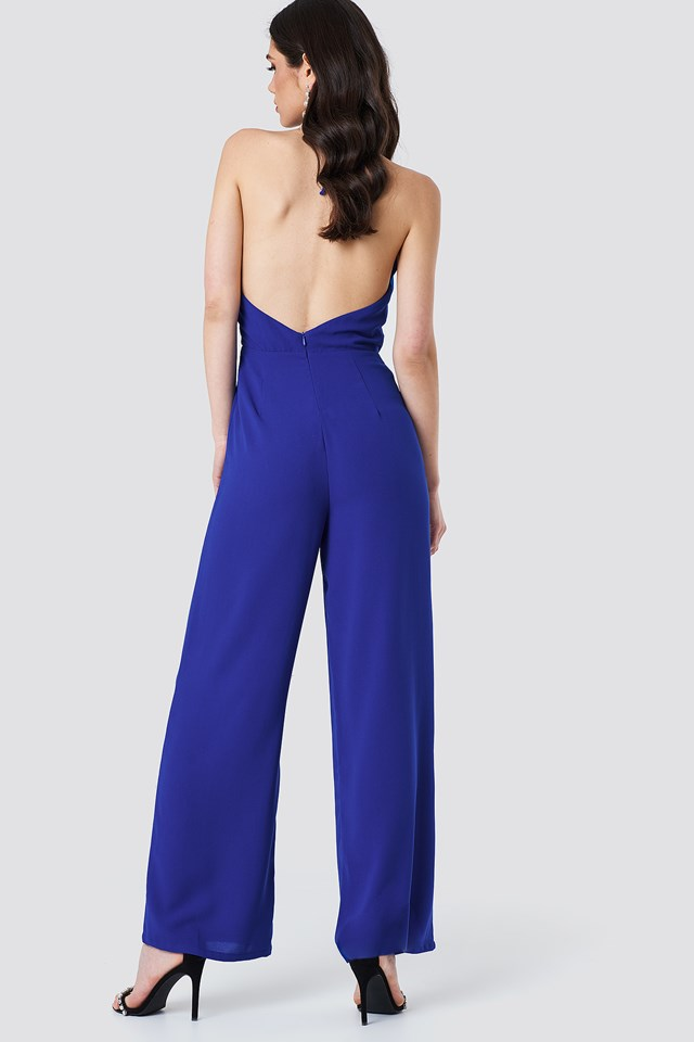 Open Back Halterneck Jumpsuit Cobalt