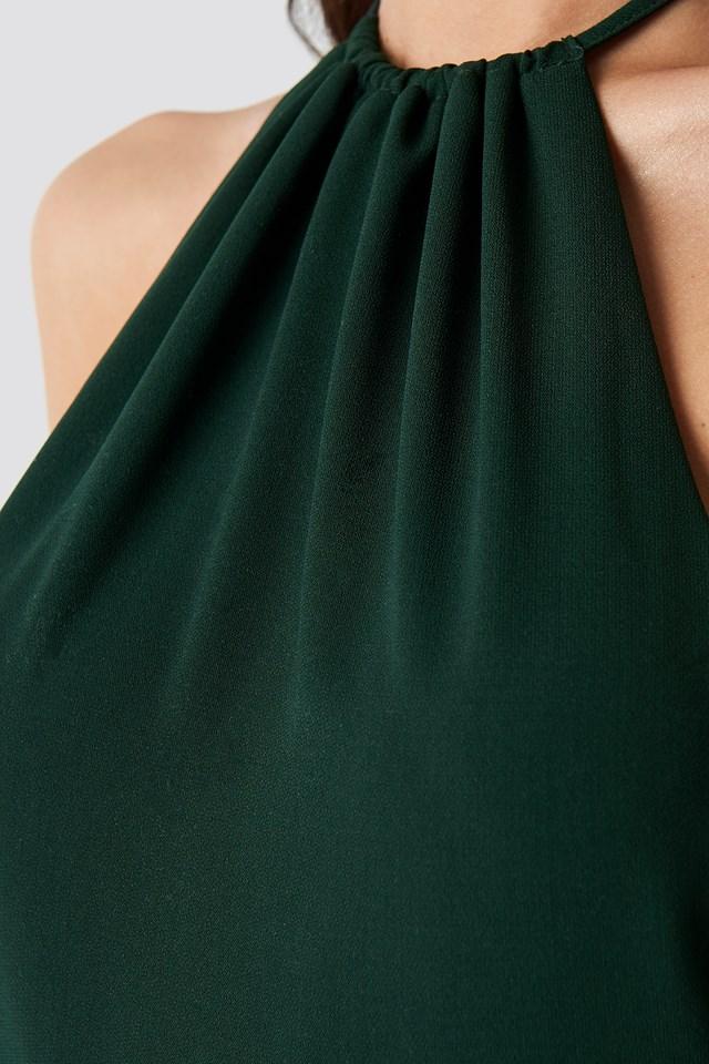 Open Back Halterneck Jumpsuit Dark Green