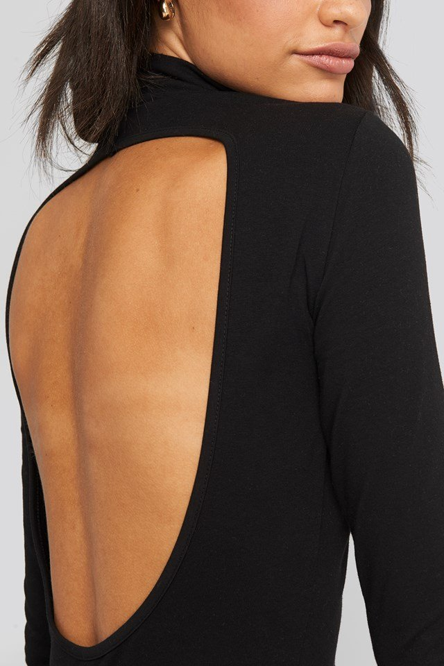 Open Back High Neck Dress Black