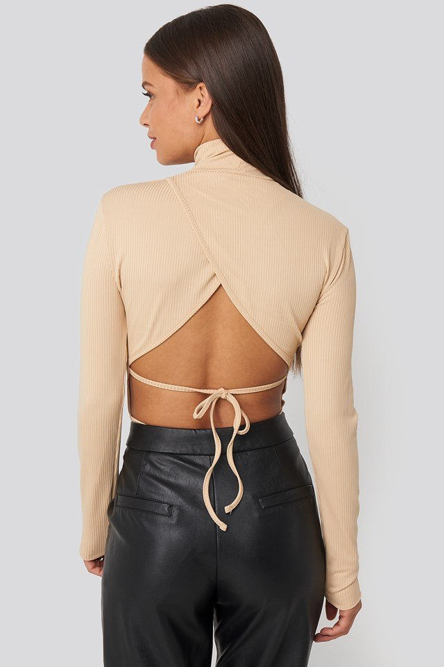 Open Back Highneck Bodysuit Beige