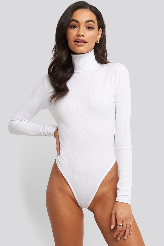 Open Back Highneck Bodysuit Offwhite