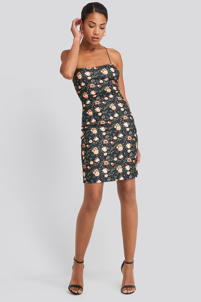 Open Back Jersey Dress Floral Print