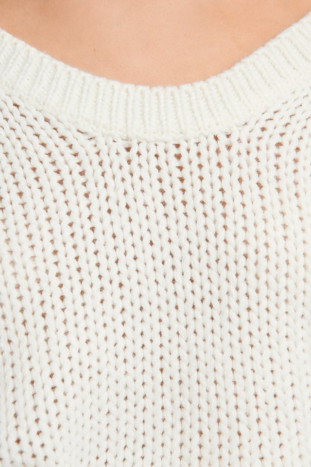 Open Back Knitted Sweater White