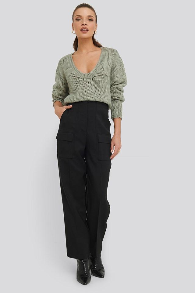 Open Back Knitted Sweater Light Khaki