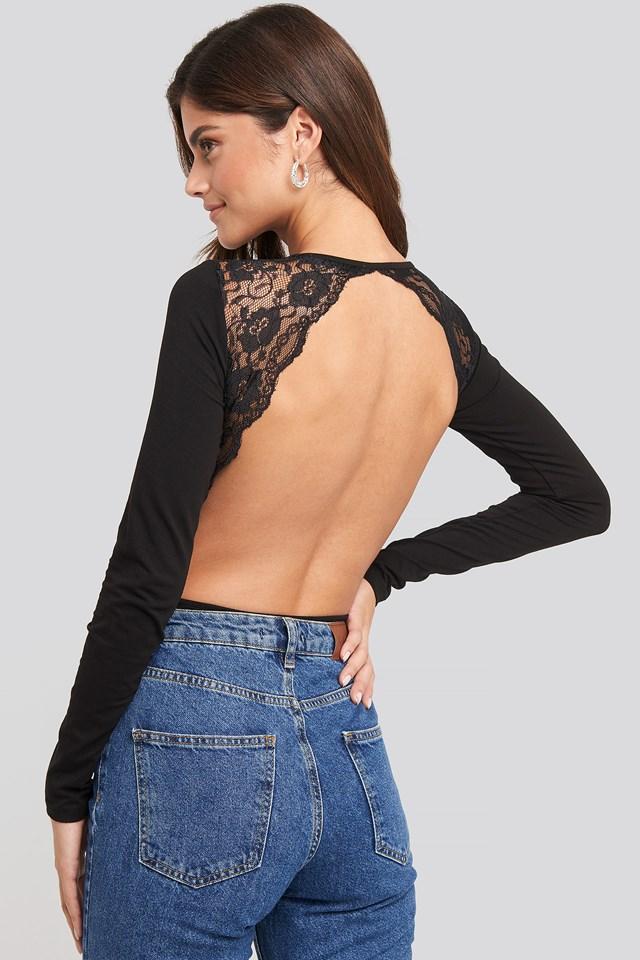 Open Back Lace Body Black