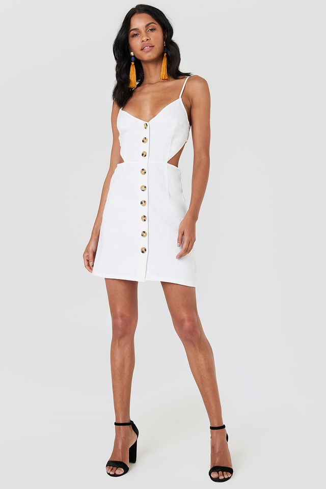 Open Back Linen Look Dress White