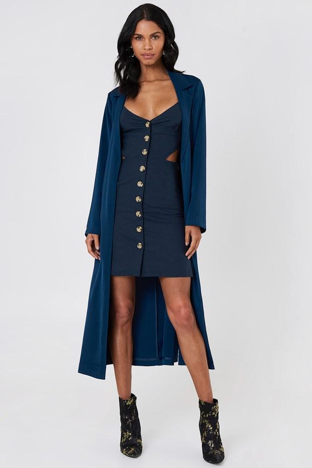 Open Back Linen Look Dress Dark Blue