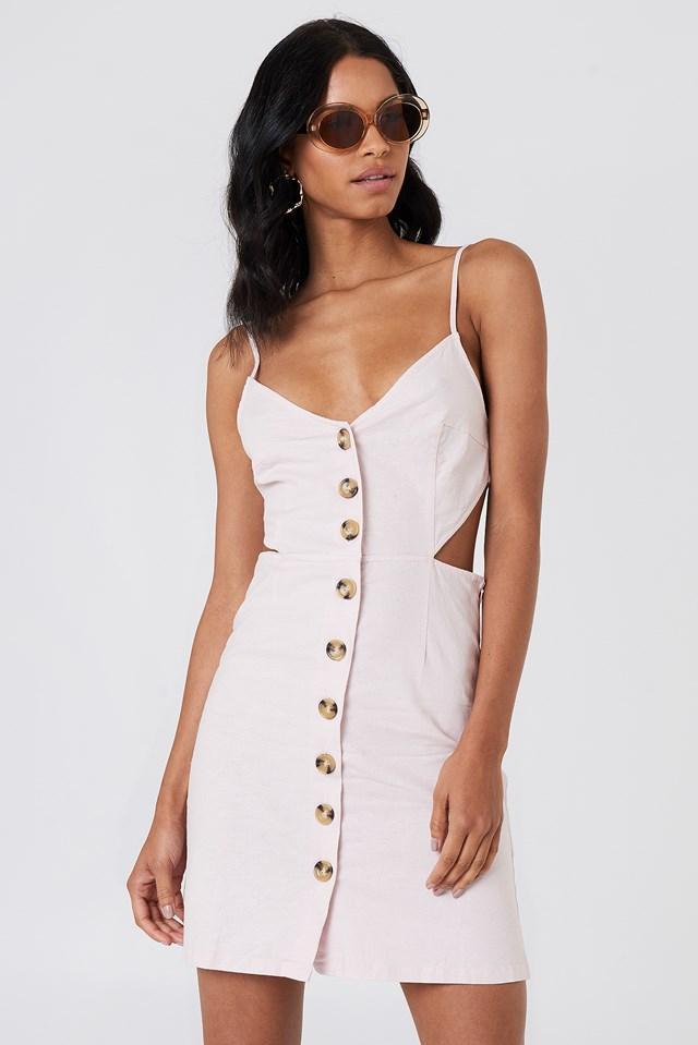 Open Back Linen Look Dress Light Pink