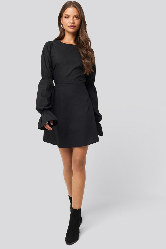 Open Back LS Mini Dress Black