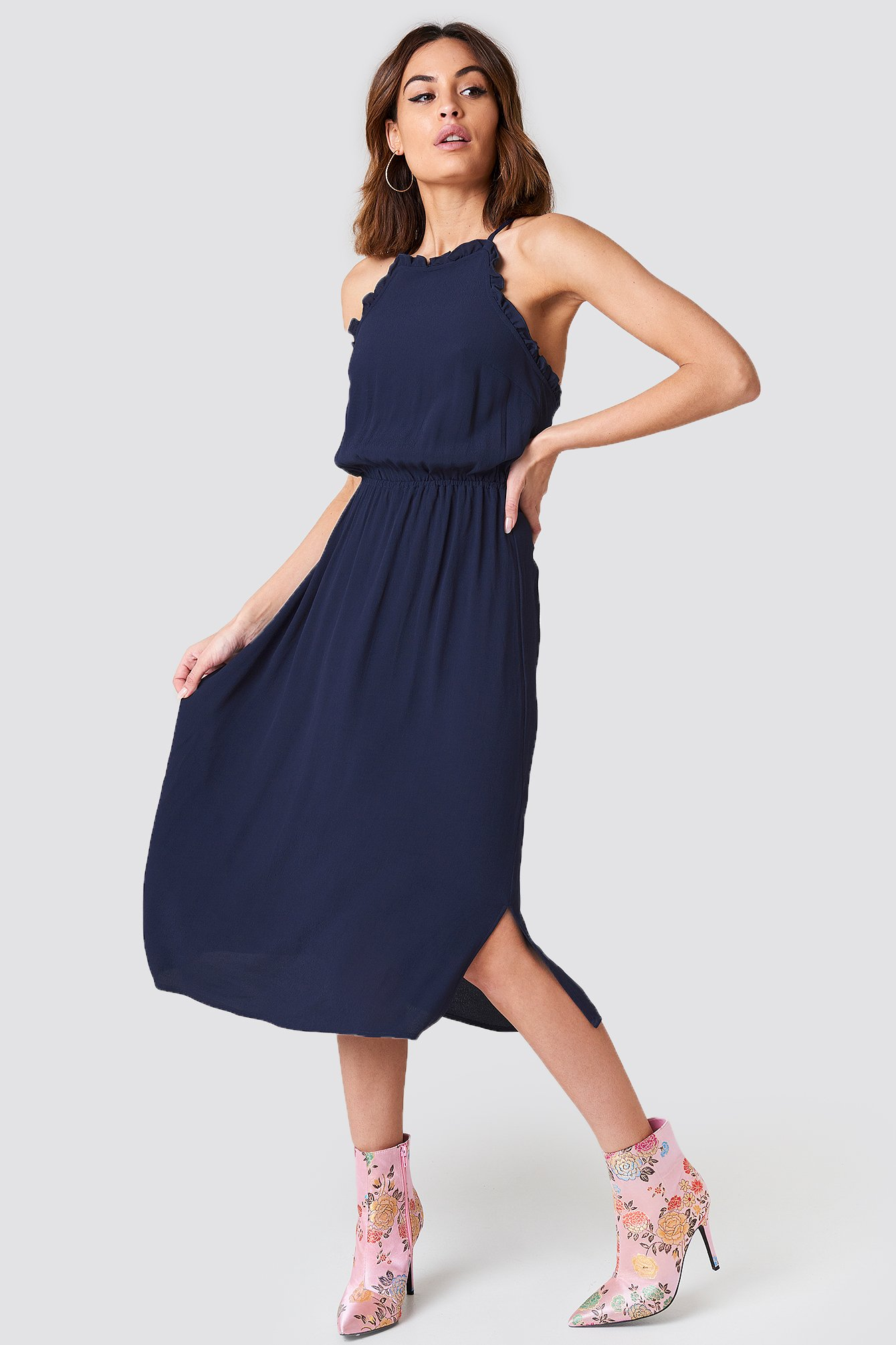 Dark Blue Open Back Midi Dress