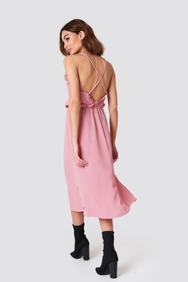 Open Back Midi Dress Dusty Pink