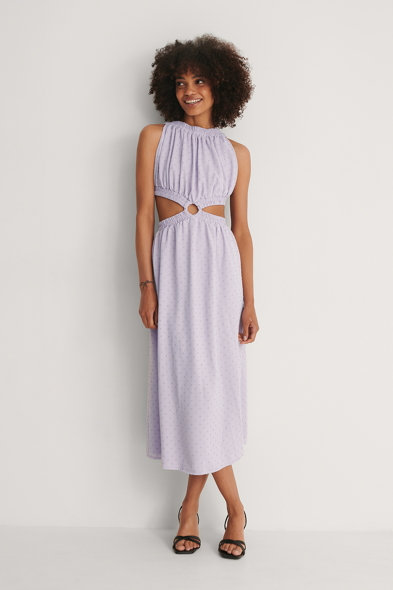 Lilac Open Back Midi Dress
