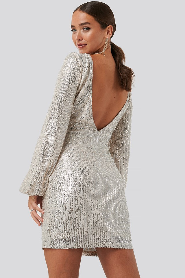 Open Back Mini Sequin Dress Beige