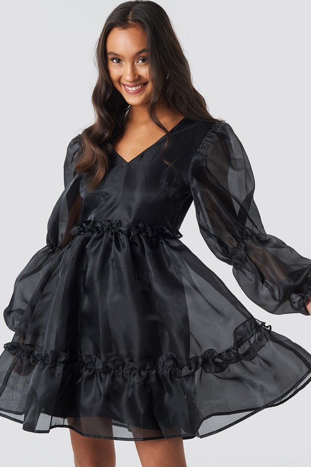 Open Back Organza Dress Black