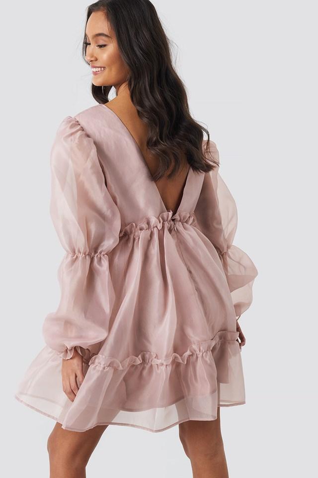 Open Back Organza Dress Powder Pink