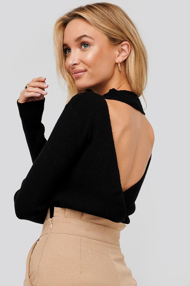 Open Back Overlap Knitted Sweater Black