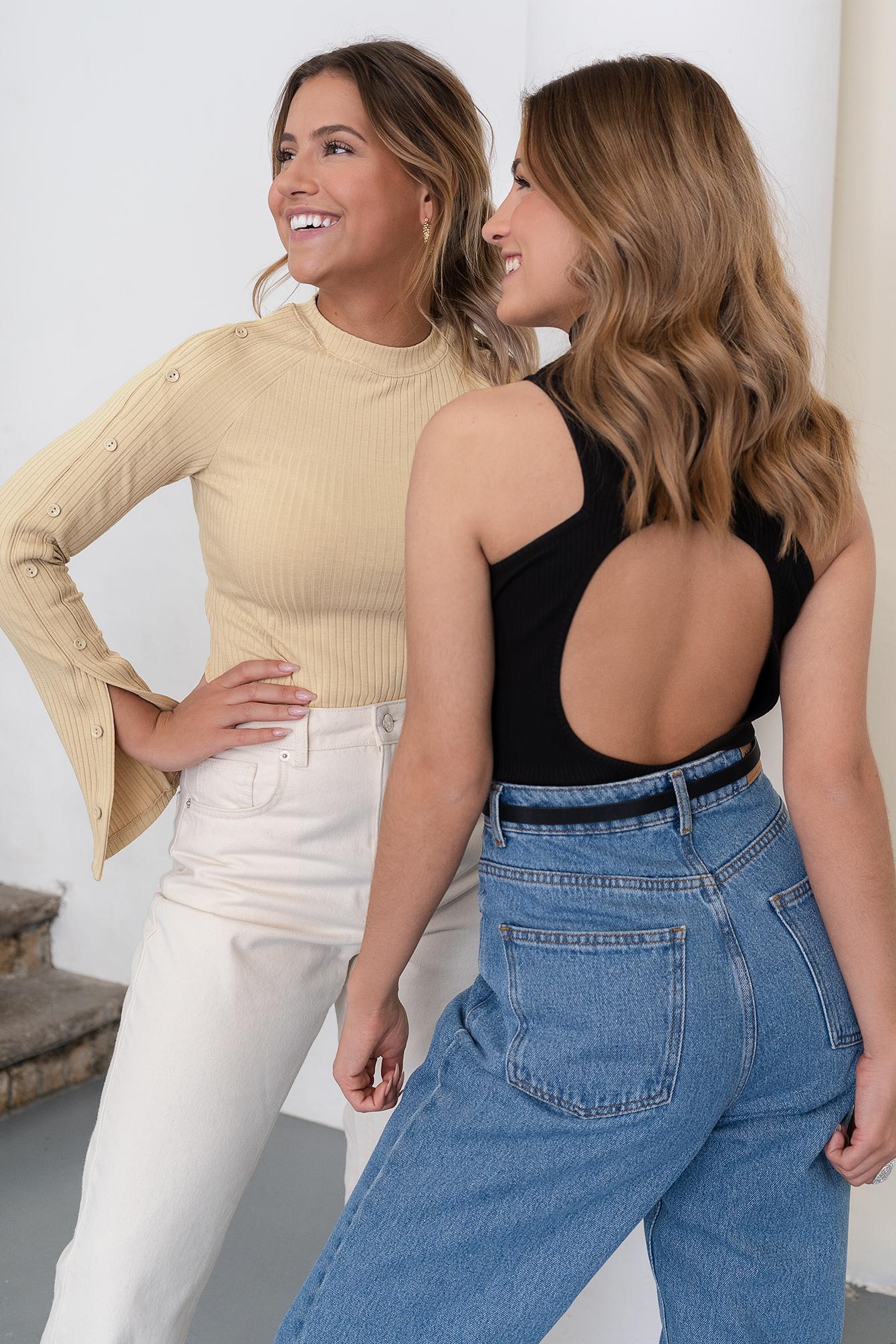 dahl sisters x na-kd -  Gerippter Body Mit Offenem Rücken - Black